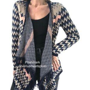 Say What Boho open front fringe southwest cardigan sweater Sz Small